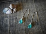 Blue Sea Glass Earring ,Beach Glass Earrings Sea glass Jewelry ,Dangle Minimalist Earring
