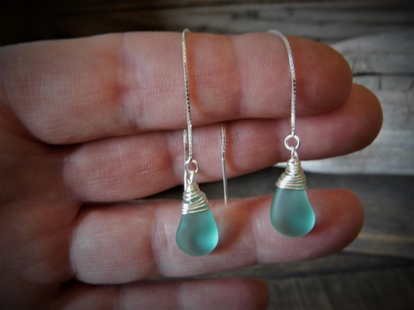 Blue Sea Glass Earring ,Beach Glass Earrings Sea glass Jewelry ,Dangle Minimalist Earring